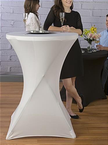 White Cocktail Table Cover at Standing Height