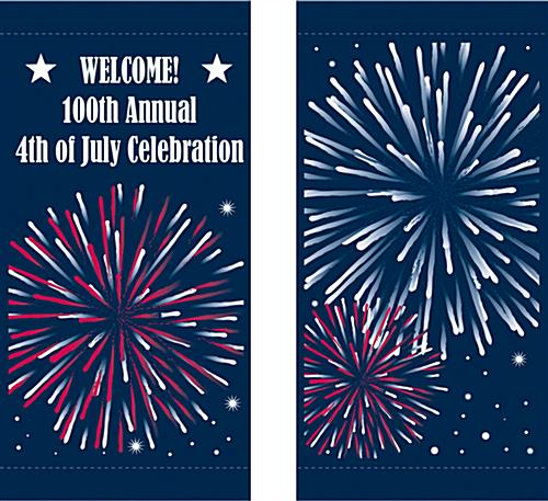 Fireworks Flag Banners for Street Poles Banner Set for Fourth of July Announcement