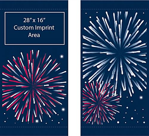 Fireworks Flag Banners for Street Poles Banner Set with Optional Personalized Message