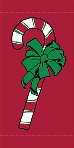Holiday Campus Pole Flag with Candy Cane Design