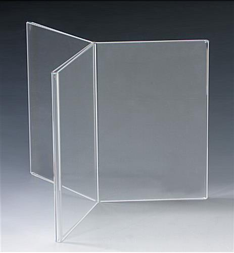 Acrylic Table Tent Panel Display With TopInsert Design - 3 sided table tents