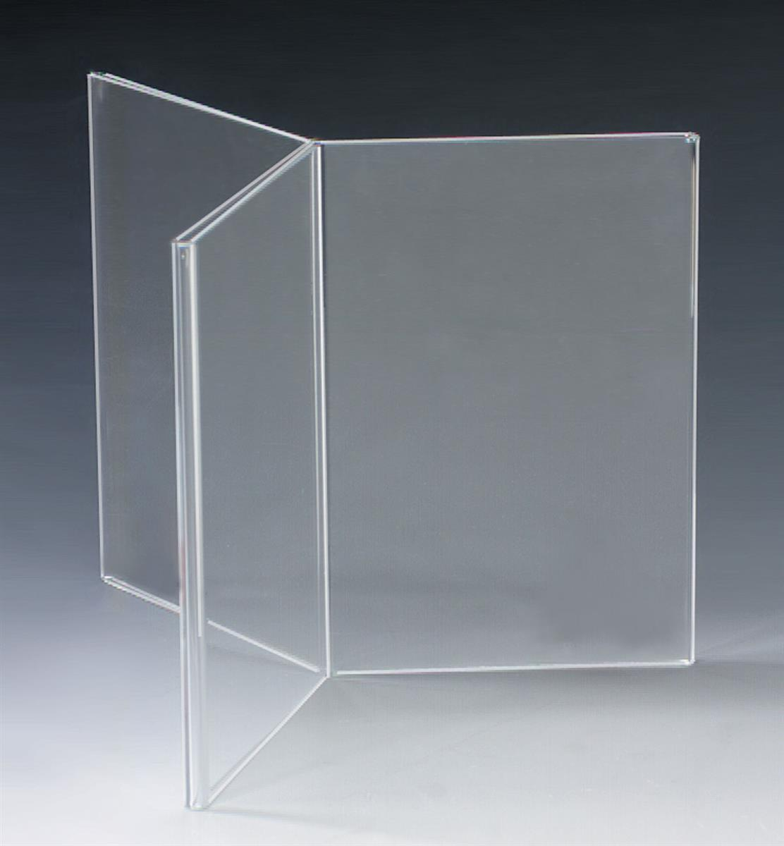 Acrylic Table Tent 6 Panel Display With Top Insert Design