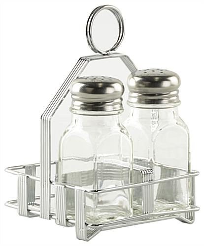 Attractive Salt and Pepper Caddy Set Includes (12) Racks and (24) Shakers RG81