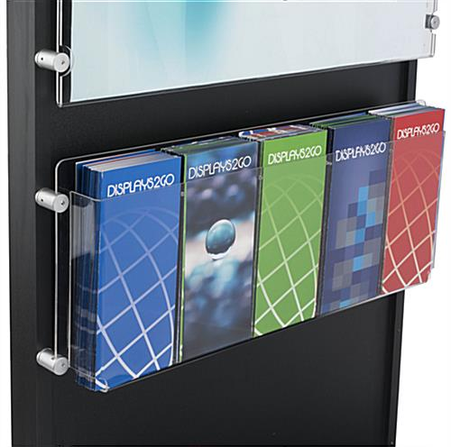 Black Wood Standing Frame with Brochure Holder with Removable Standoffs