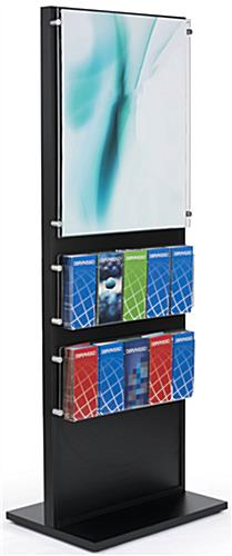 Black Wood Standing Frame with Brochure Holder with 10 Pockets