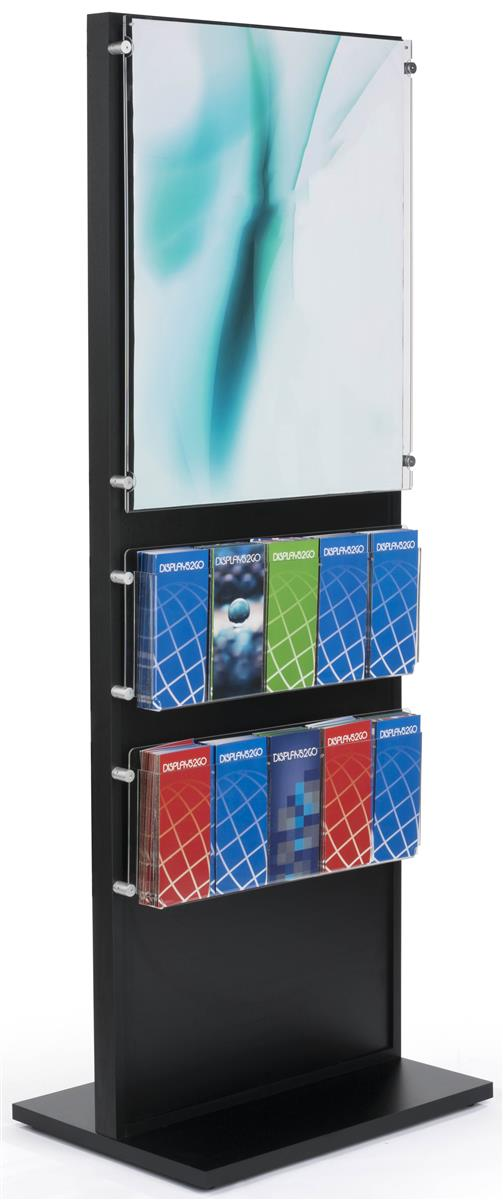 Black Wood Standing Frame With Brochure Holder Acrylic Panel