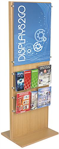 Wooden Poster Stand With 10 Brochure Holders