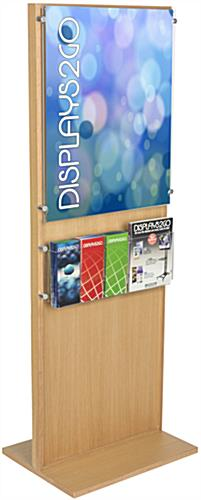 Wooden Poster Stand With 5 Brochure Holders, Light Oak Finish