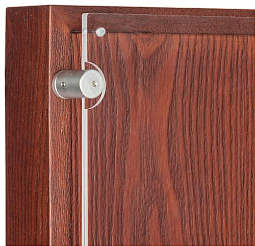 Freestanding Mahogany Poster Stand With Button Magnets