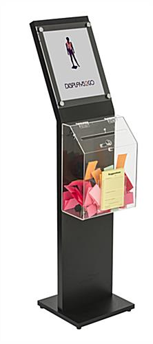 Black Floor Standing Charity Box with Clear Container