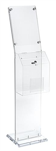 Clear Charity Collection Box with Lockable Lid