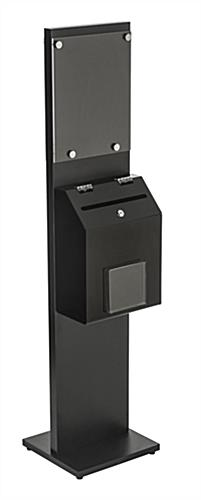 Double-Sided Black Literature Stand with Ballot Box