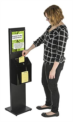 Lockable Black Literature Stand with Ballot Box