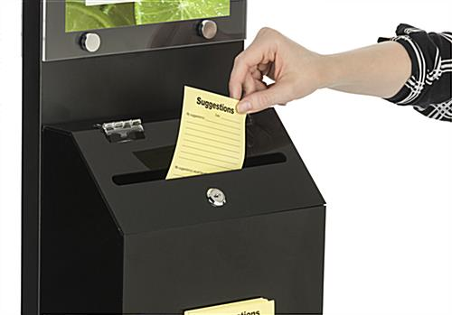 Black Literature Stand with Ballot Box and Locking Lid