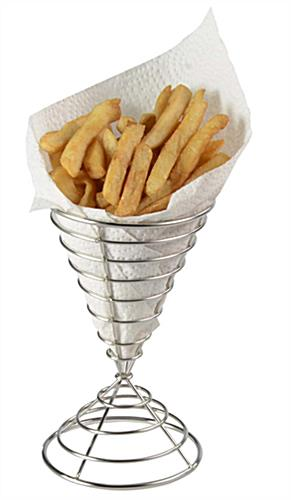 Holder For French Fries Silver Finished Stainless Steel