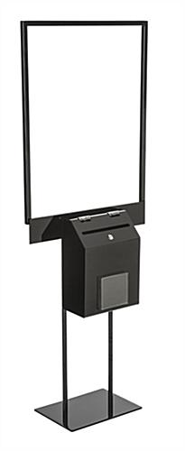 Lockable Black Sign Stand with Lead Box