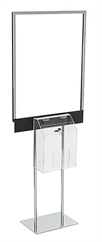 "Silver Sign Stand with Sweepstakes Box for 22"" x 28"" Posters"