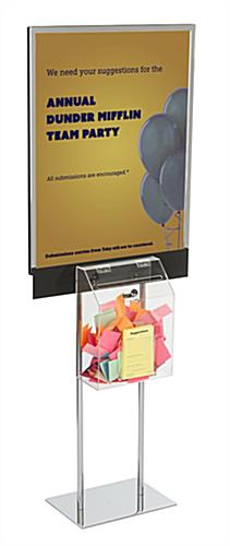 Double-Sided Silver Sign Stand with Sweepstakes Box