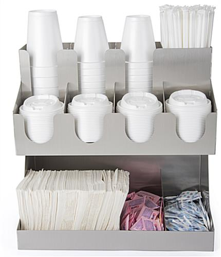 Tabletop condiment organizer with three cup and four lid slots