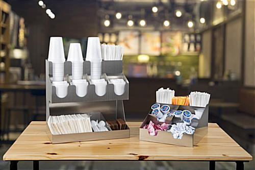 Tabletop condiment organizer for resaurants and breakrooms