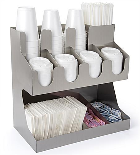 Stainless steel tabletop condiment organizer