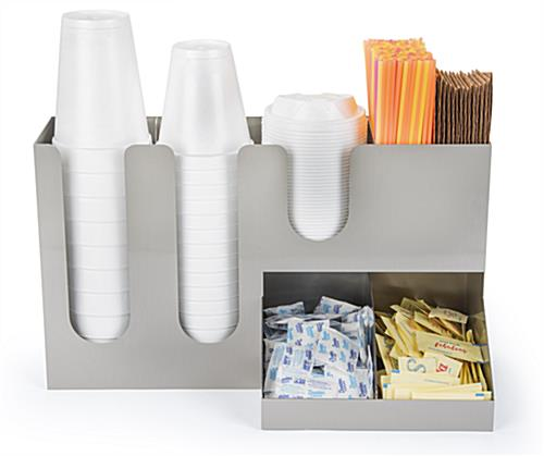 Coffee counter organizer with cup and lid slots