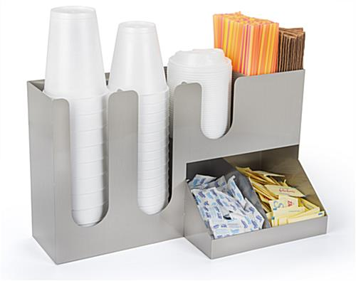 Coffee counter organizer with straw pockets