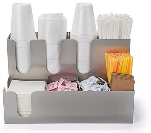 Two-tiered coffee condiment organizer for office