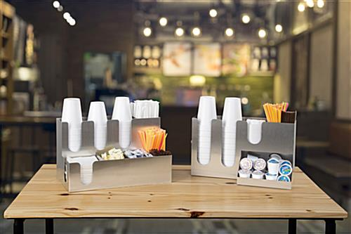 Countertop coffee condiment organizer for office and breakroom