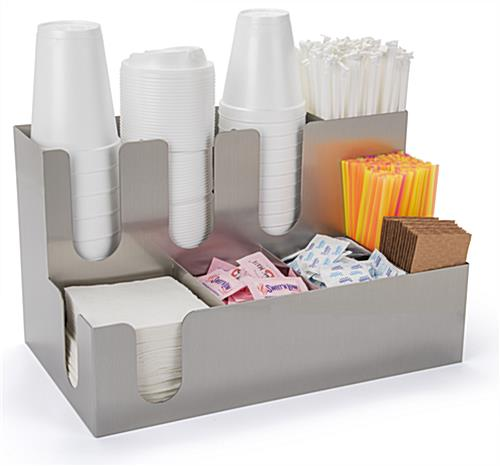 Coffee condiment organizer for office with cup and lid stacks