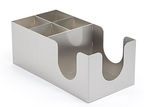 Napkin organizer with brushed stainless steel finish