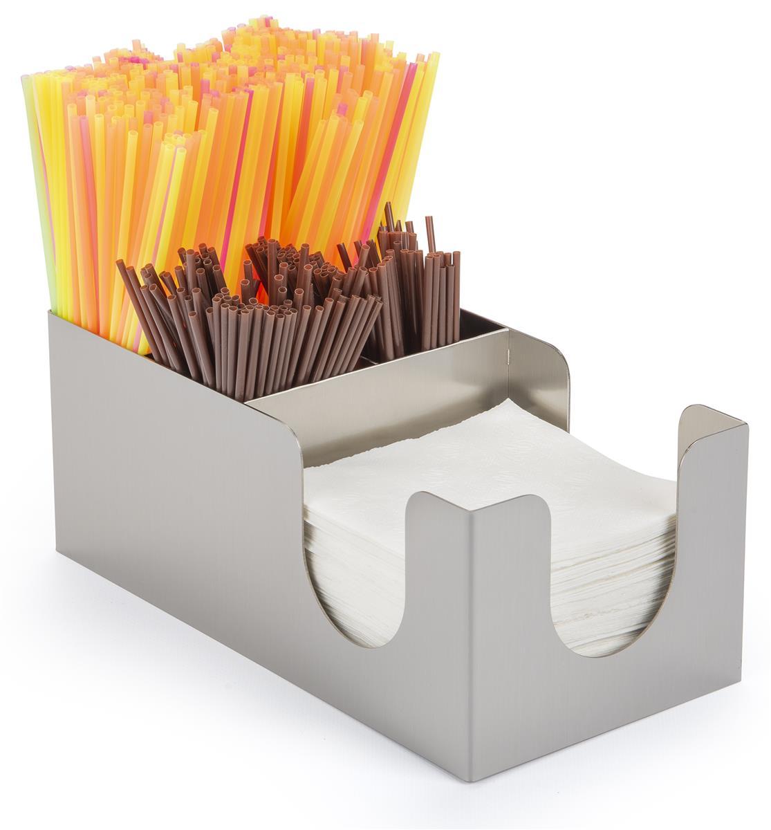 SS Ecom Stainless Steel Straw Holder,Counter-top Straw Dispenser,Toothpicks Organizer,Spoons Forks Chopsticks Storage Stainless Steel Hotel Restaurant Home Desk Decor