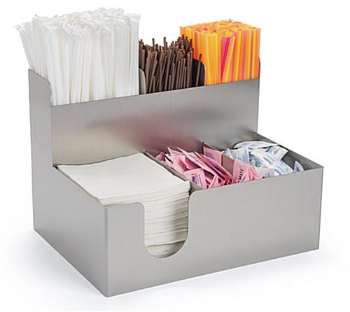 Beverage station organizer with 6 multi-sized compartments