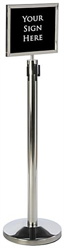 "Silver 14"" x 11"" Stanchion Frame for Crowd Control"