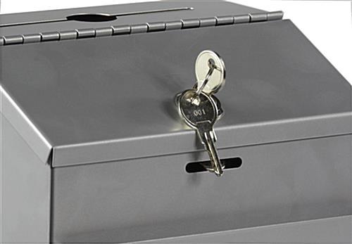 Metal Collection Box Keyed Lock Wall Mount Countertop