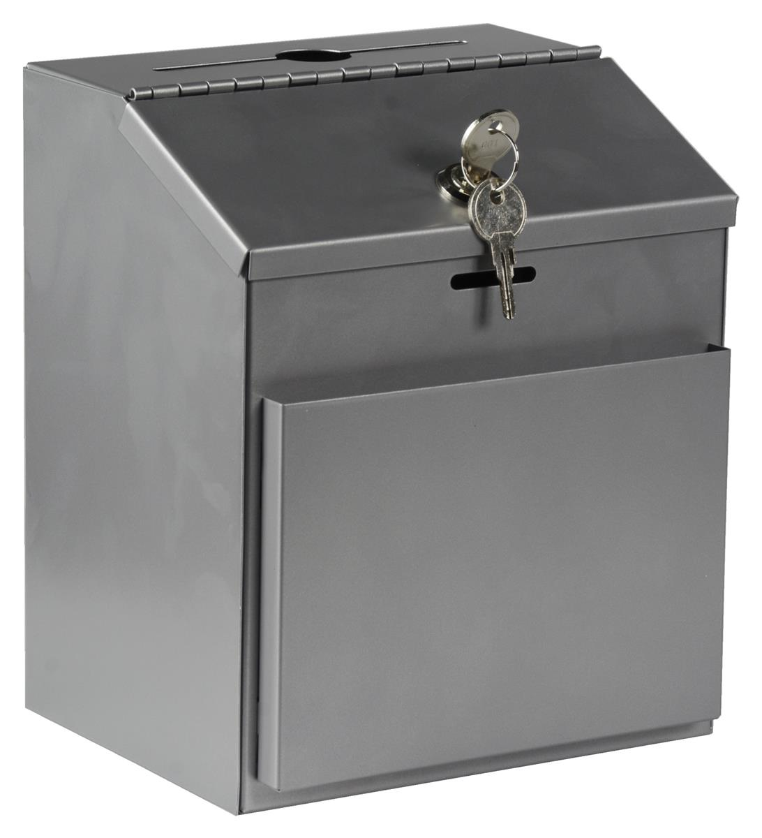 Wall Mounted Fixture Box : Metal Collection Box Keyed Lock - Wall Mount/Countertop Fixture