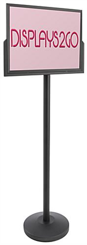 Black Stanchion Post with Sign Holder