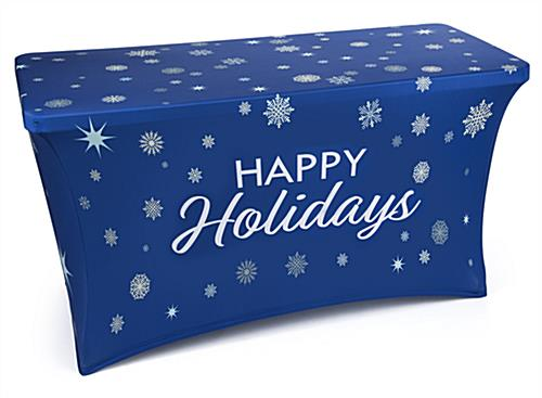 4' stretch tablecloth with holiday message pre-printed