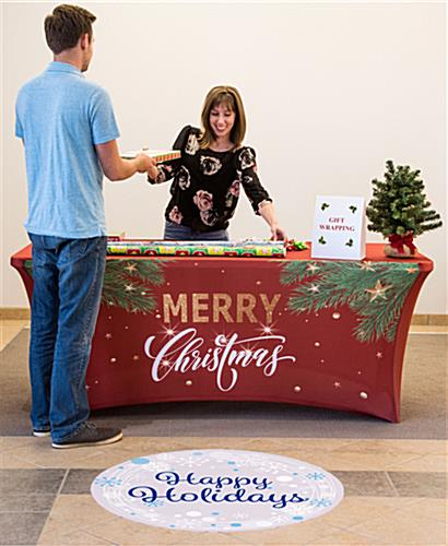 "4' ""Merry Christmas"" stretch table cover made with red fabric"