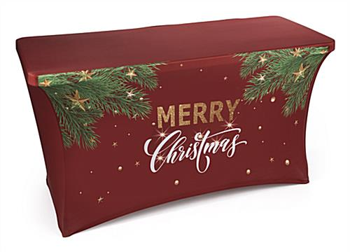"4' ""Merry Christmas"" stretch table cover with holiday artwork"