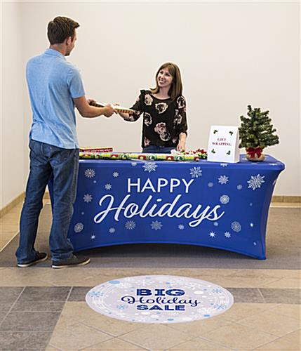 6' spandex tablecloth with holiday message with 4 sided coverage