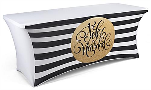 feliz navidad stretch 6' preprinted table cover with modern design
