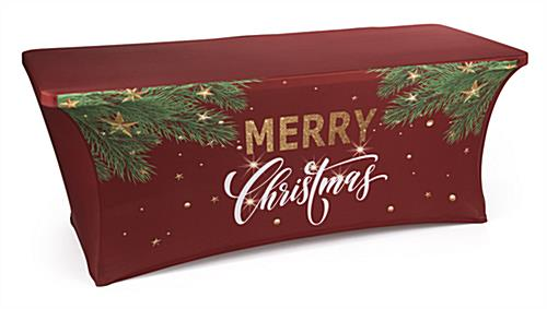 "6' ""Merry Christmas"" spandex table cover with seasonal graphics"