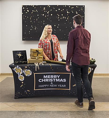 stretch preprinted seasonal cover for 6-ft table in promotional displays