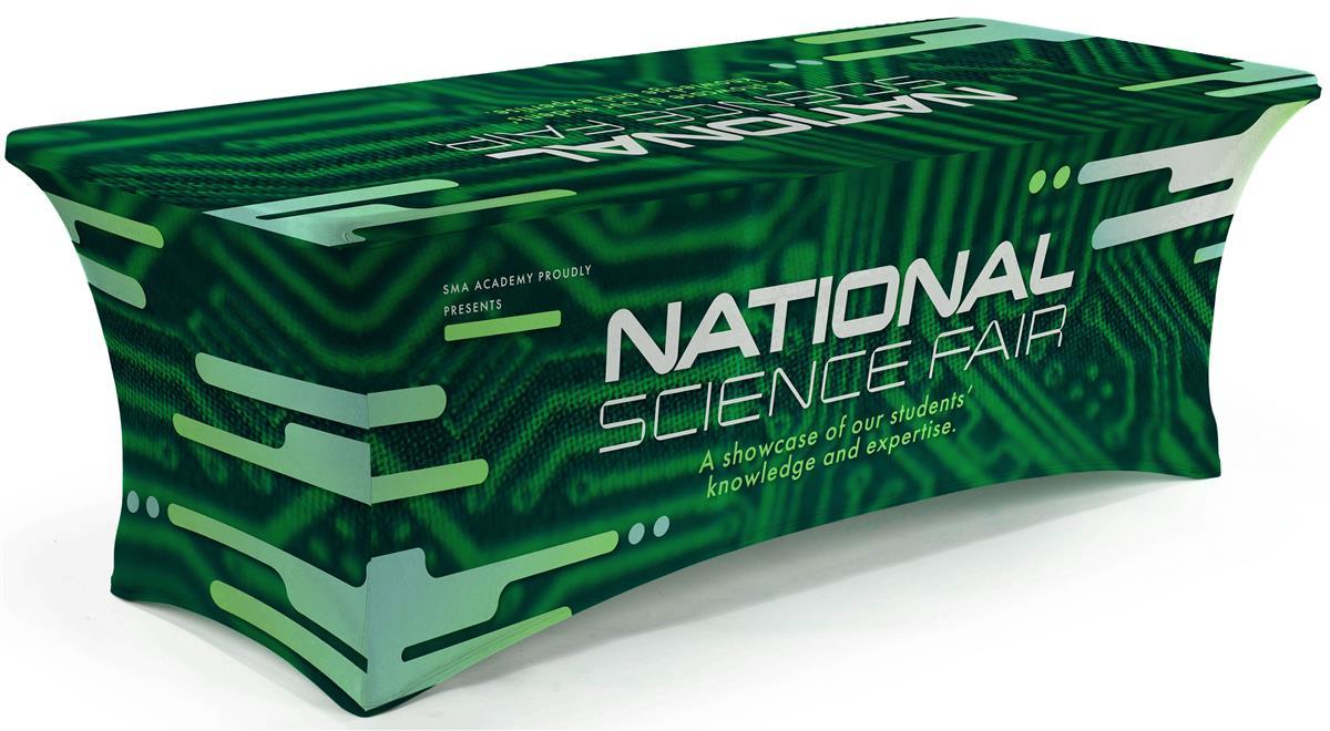 166 & 8\u2019 Stretch Table Cover Fitted Design \u2013 Custom Graphics