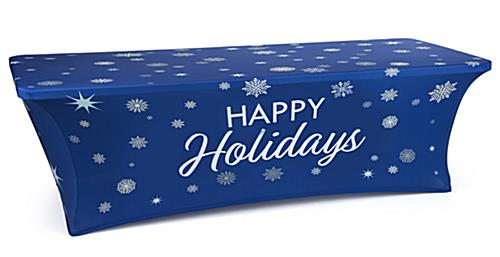 8' fitted tablecloth with holiday message pre-printed on blue background