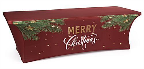 "8' ""Merry Christmas"" fitted table cover with rectangular shape"