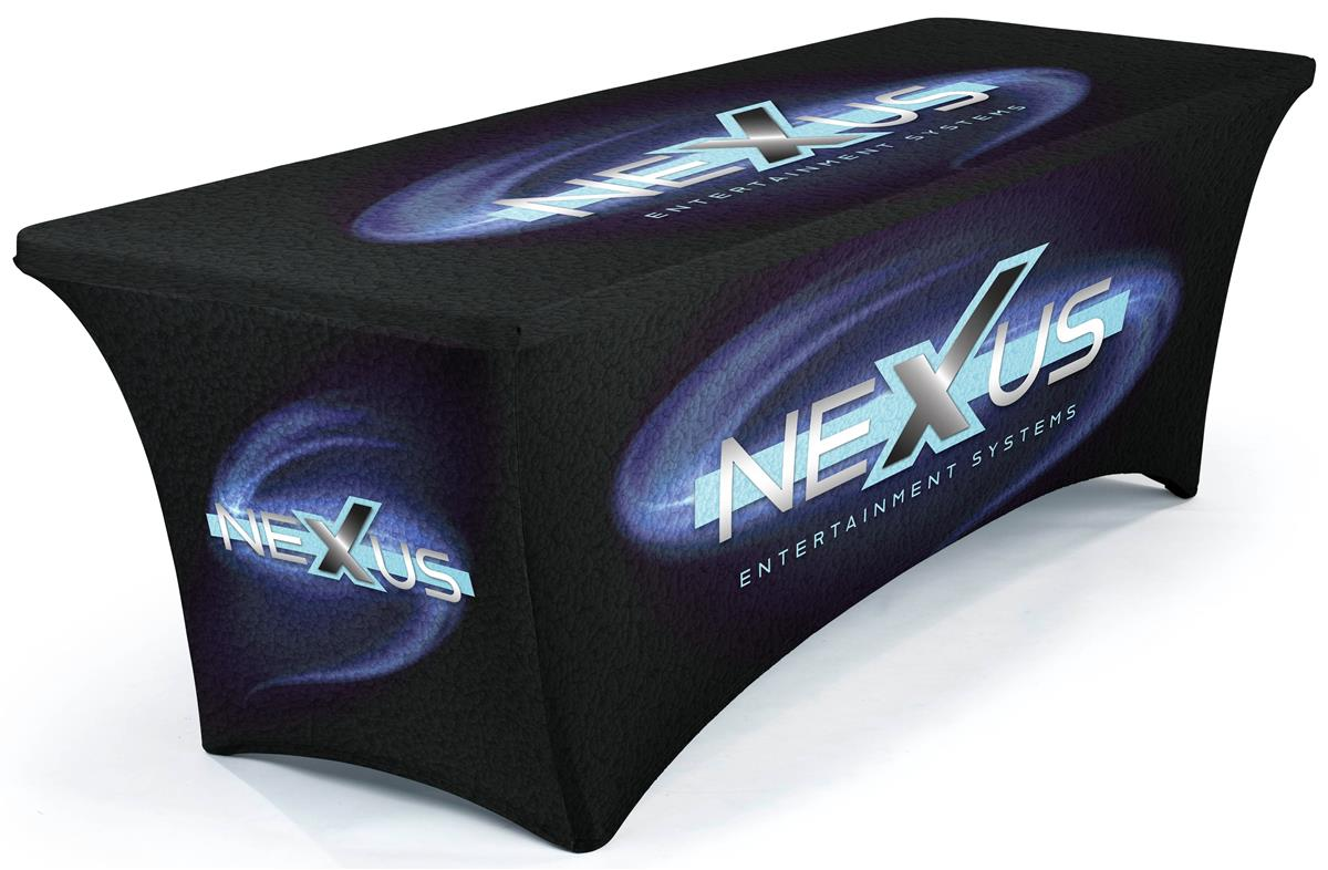 High Quality 6ft Trade Show Spandex Stretch Table Throw with Custom Graphic