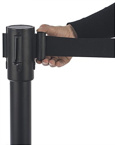 Black Stackable Stanchion with Covers to Lock Belt in Place