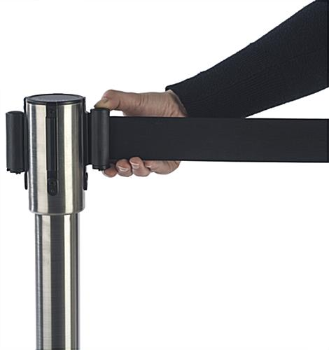 Silver Stackable Stanchion for Banking Centers